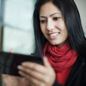 Woman Using Mobile Banking