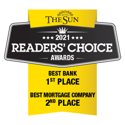 2021 Readers' Choice Awards - Best Bank 1st place - Best Mortgage Company 2nd place
